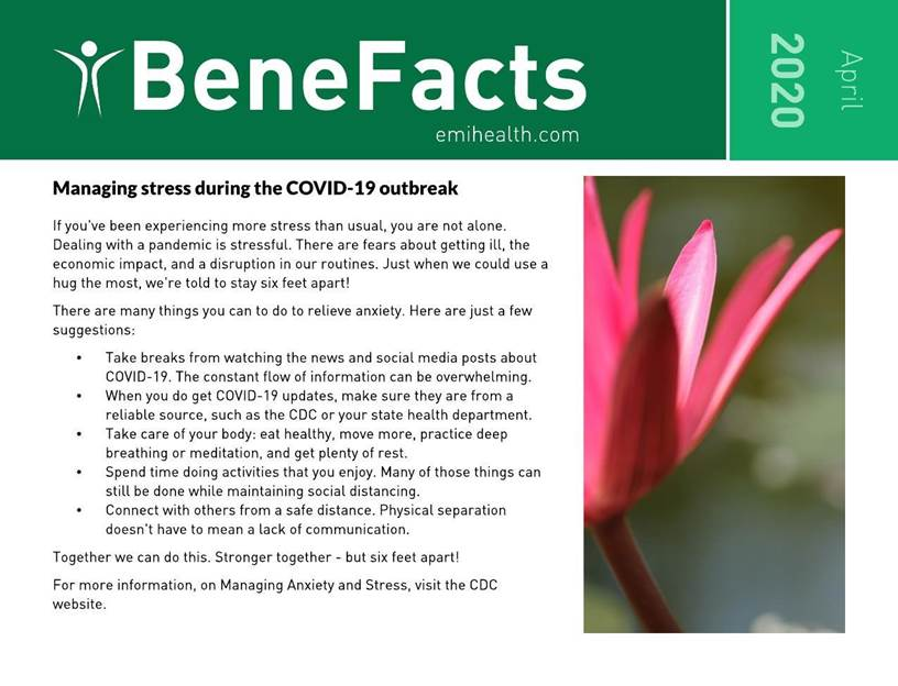 BeneFacts.  Managing stress during the COVID-19 outbreak PDF.